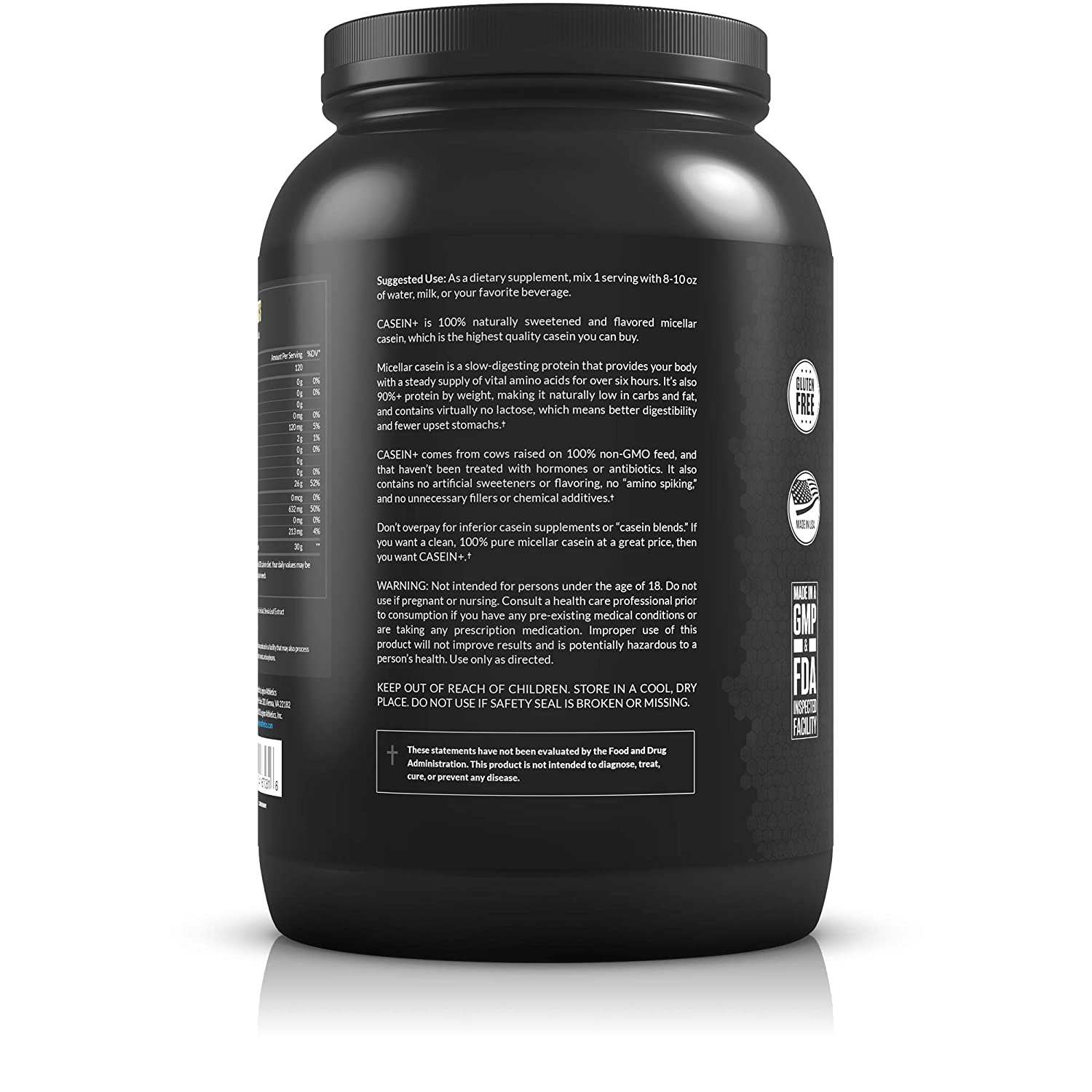 Casein protein without artificial sweeteners