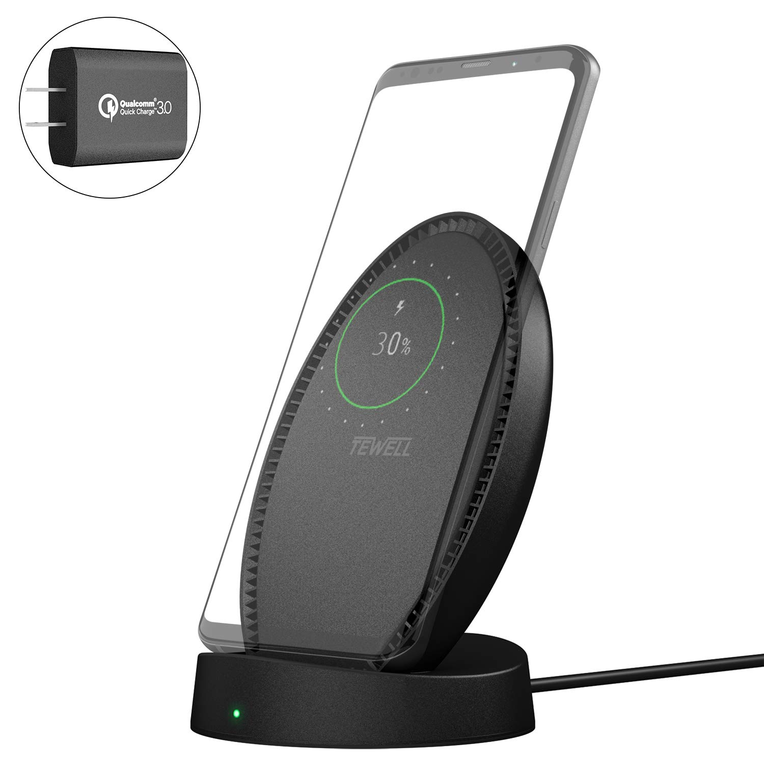 TEWELL Fast Wireless Charger, Wireless Charging Stand with Quick Charge Adapter