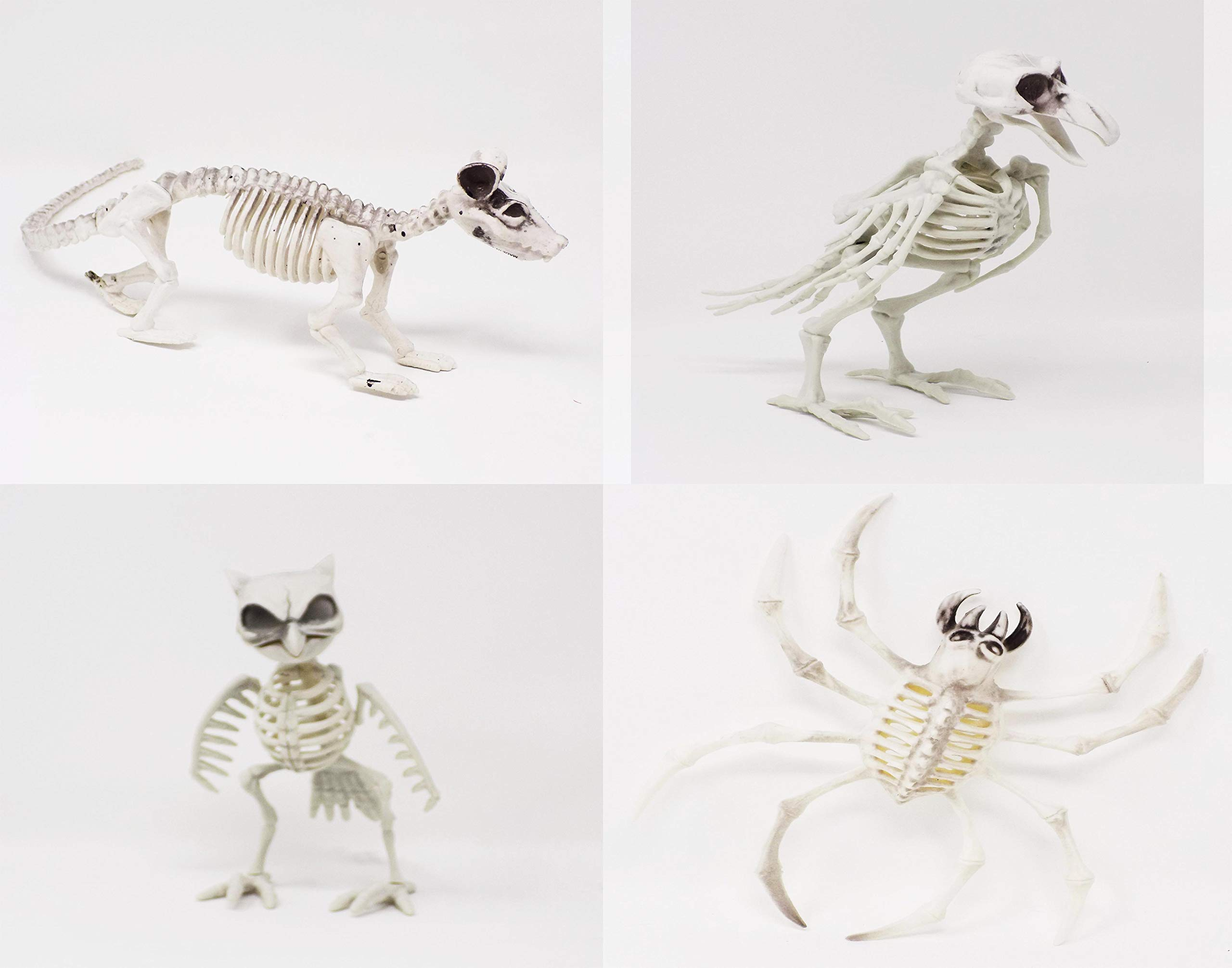 J&J's ToyScape Halloween Bone Skeleton Animals - 4 Pack - Crow, Owl, Rat & Spider | Halloween Party Yard Decorations, Scary Table Centerpieces