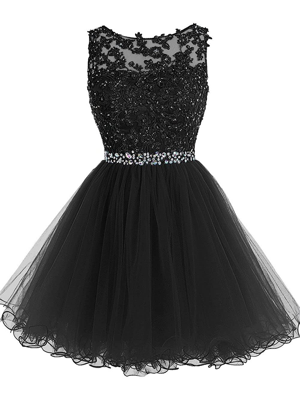 Black SHANGSHANGXI Lace Appliques Short Prom Dresses Tulle Beaded Homecoming Party Dress