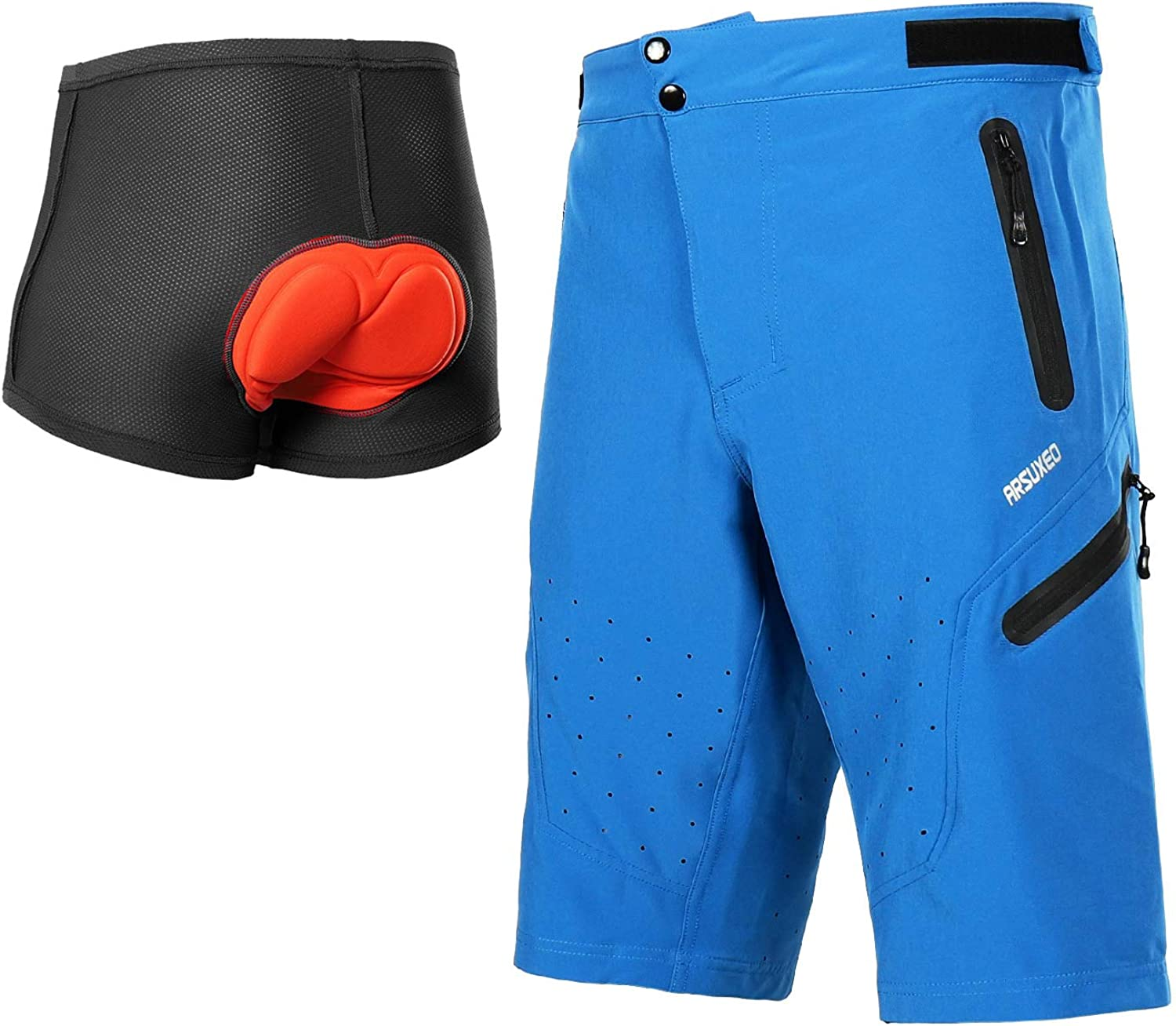 ARSUXEO Men/'s Outdoor Sports Cycling Shorts MTB Downhill Mountain Bike Bicycle