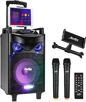 Moukey Karaoke Machine,540 Watt Peak Power Wireless Connection Karaoke Speaker System-PA Stereo with 10