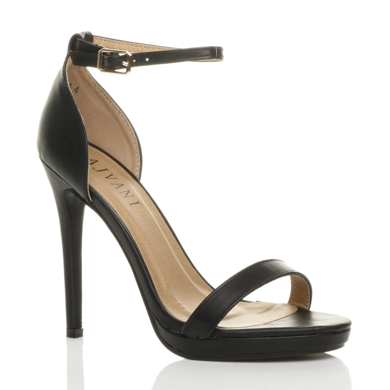 Donna tacco alto spillo plateau fibbia con cinturino scarpe sandali numeroNero Opacoa