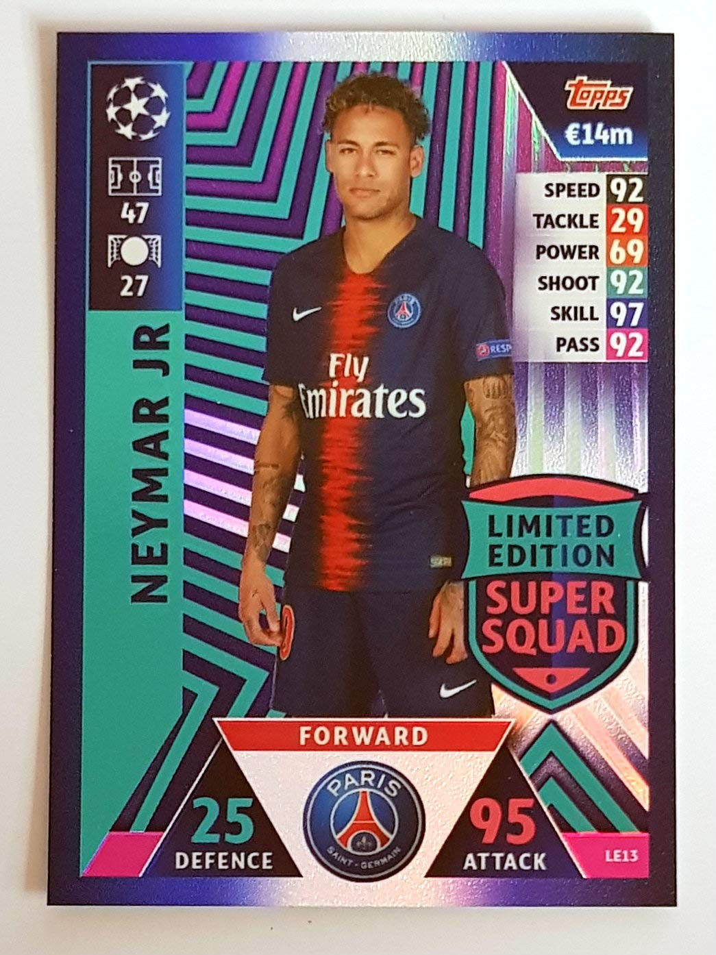 62b92b9b5 Match ATTAX Champions League 18 19 Neymar JR Limited Edition Trading Card -  Paris ST