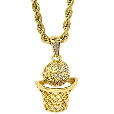 Basketball iced out micro pendant hip hop chain gold tone 24 inch basketball iced out micro pendant hip hop chain gold tone 24quot inch rope aloadofball Images