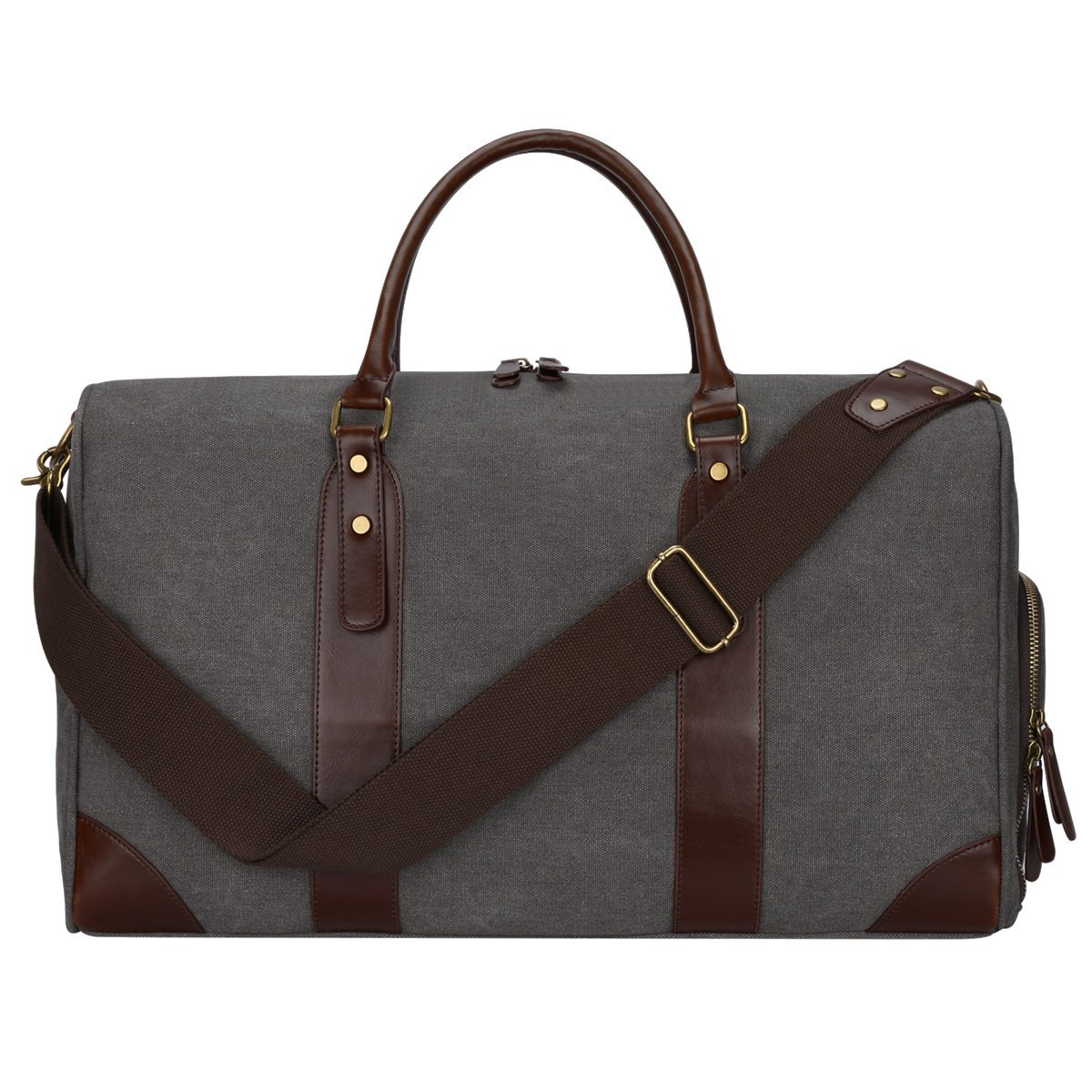 S-Zone Canvas PU Leather Trim Travel Duffel Shoulder Handbag Weekender Carry On Luggage with Shoe Pouch S-ZONE D01V029C