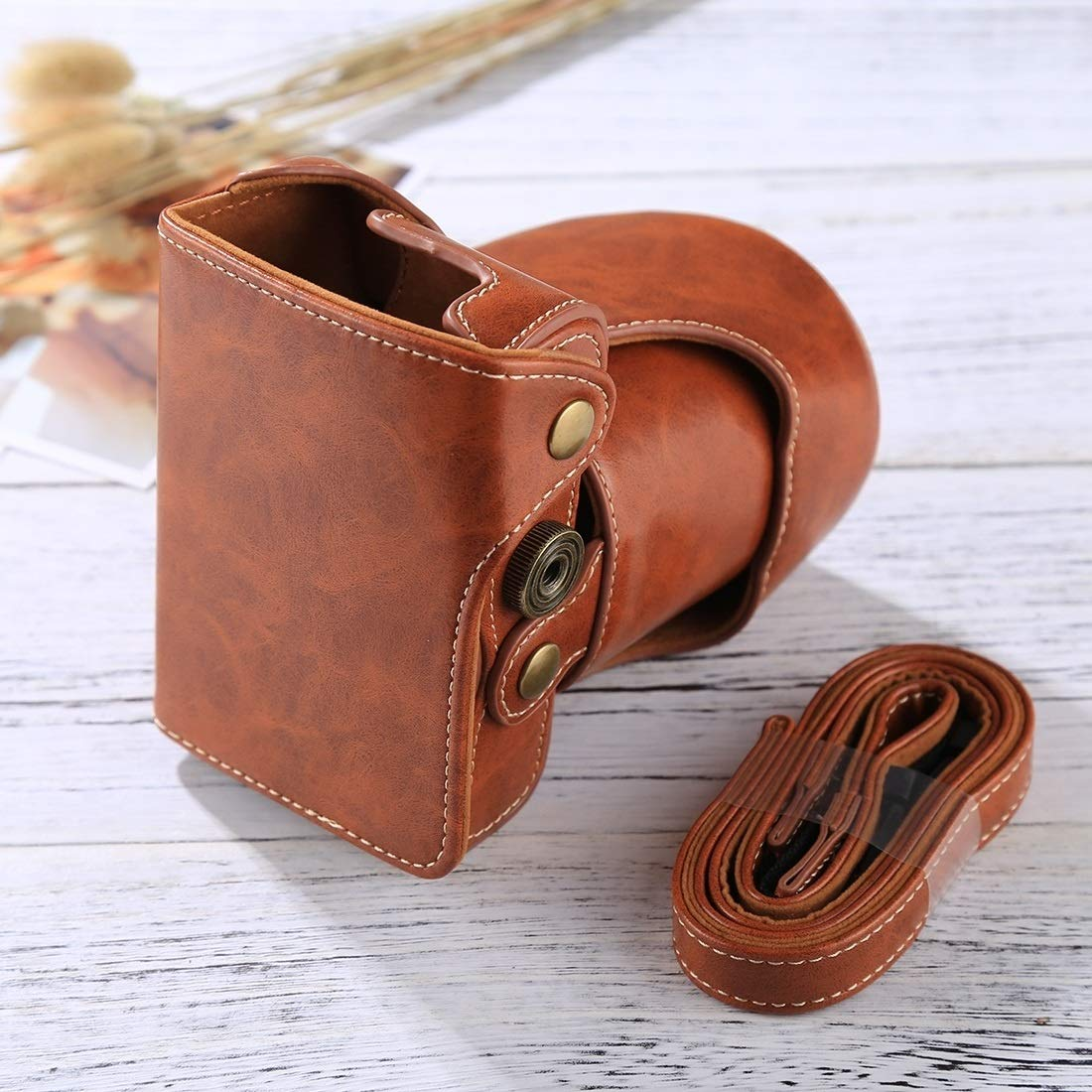 Color : Coffee Full Body Camera PU Leather Case Bag with Strap for FUJIFILM X-A3 // X-A2// X-M1 // X-A10 16-50mm // 18-55mm // XF 35mm Lens Durable
