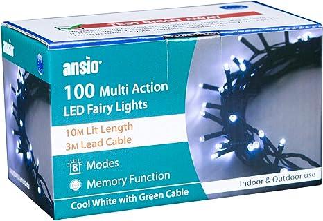 indoor drinnen und draußen outdoor LED 10m Lichterkette 100LED 2 Stück