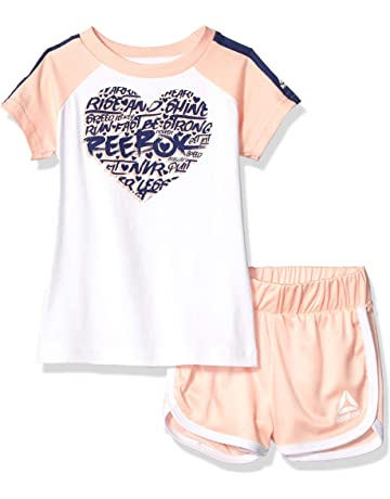 8614c29fd Reebok Girls Sleeve Athletic T-Shirt and Pull-on Short Set