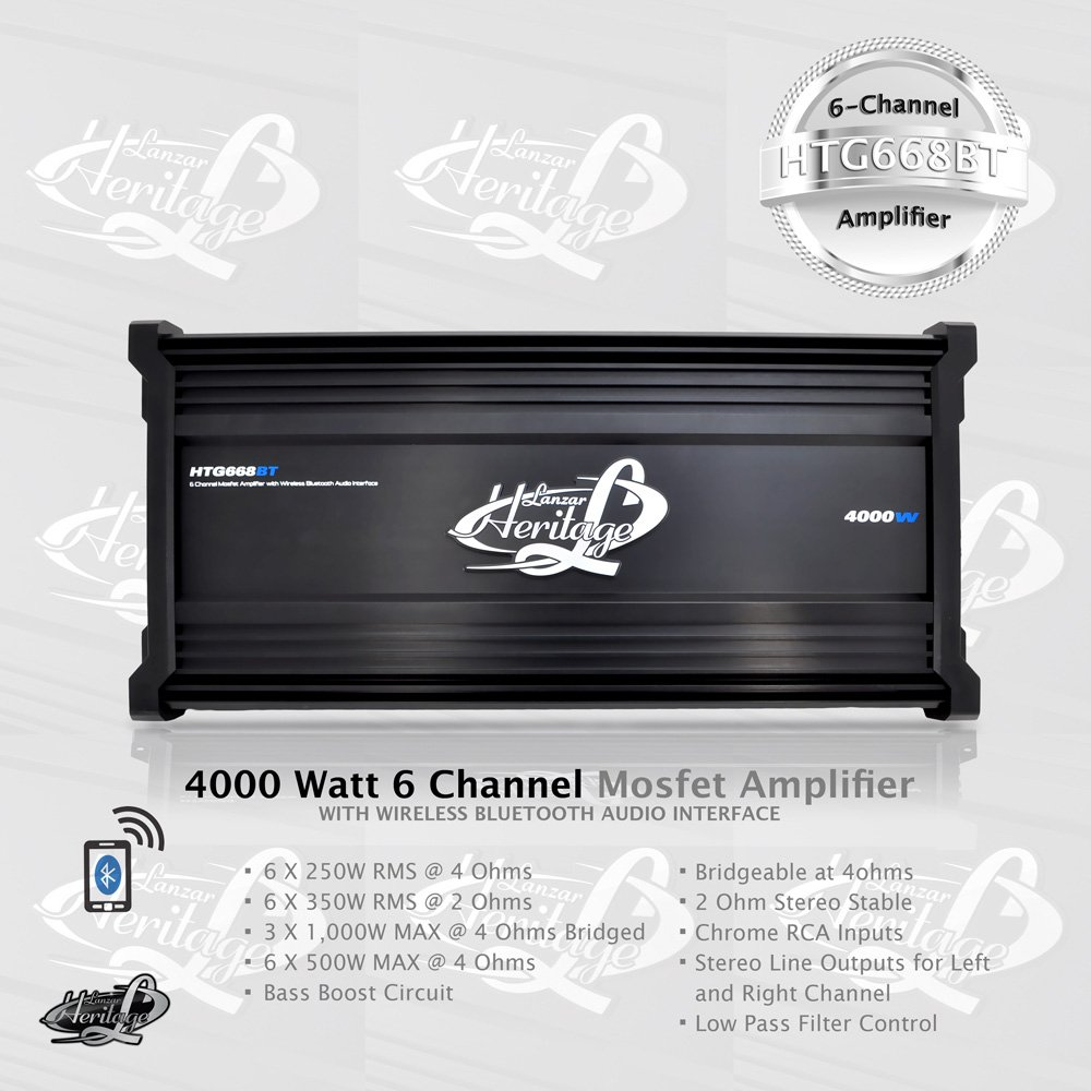 Amazon.com: Lanzar Amplifier Car Audio, 4,000 Watt, 6 Channel, 2 Ohm,  Bridgeable 4 Ohm, MOSFET, RCA Input, Bass Boost, Mobile Audio, Amplifier  for Car ...