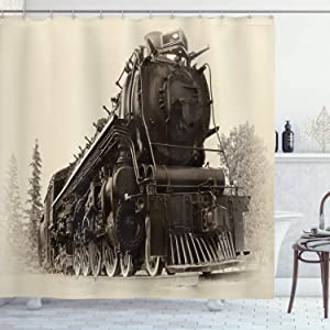 """Ambesonne Steam Engine Shower Curtain, Antique Northern Express Train Canada Railways Photo Freight Machine Print, Cloth Fabric Bathroom Decor Set with Hooks, 70"""" Long, Tan Taupe"""