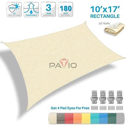 Patio Paradise 10' x 17' Tan Beige Sun Shade Sail Rectangle Canopy -  Permeable UV Block Fabric Durable Patio Outdoor - Customized Available