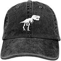 QHZM Men&Women T Rex Skeleton Dinosaur Adjustable Vintage Washed Denim Cotton Dad Hat Baseball Caps