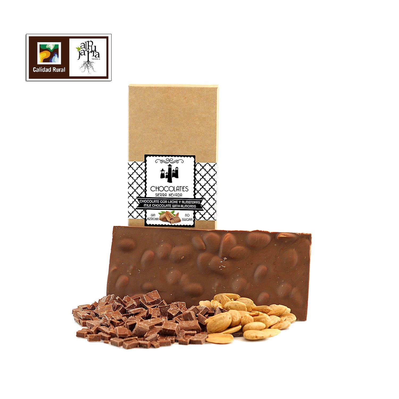 Chocolate artesano con leche almendras sin azúcar: Amazon.es: Alimentación y bebidas