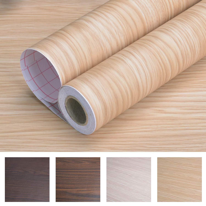 "Art3d 17.7""x78.7"" Peel and Stick Wallpaper Wood Wall Paper Self-Adhesive Paper (17.71"" x 78.74"", Beech 1)"