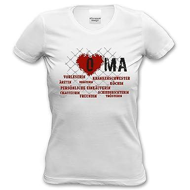 Herz Oma Modisches Damen-Oberteil Geschenke Fun-T-Shirt zum Omi-Tag