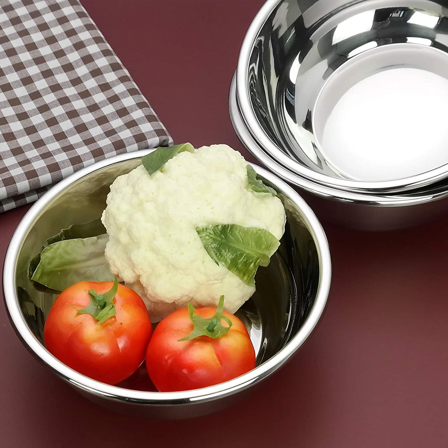 Rinboat Stainless Steel Mixing Bowls Set of 4 Diameter 22 cm