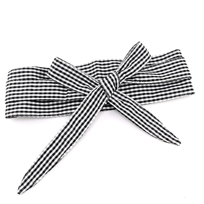 Cyose Fashion Bowknot Plaid Canvas Women Belt Sweet Double Circle Wide Belts For Dress Long Belt For Female