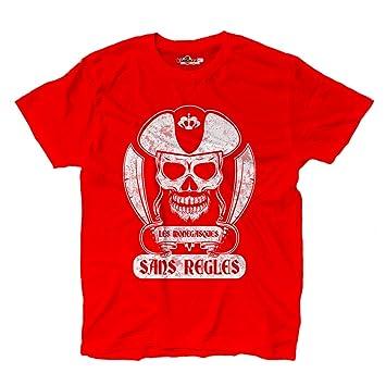 KiarenzaFD Camiseta Camiseta Hombre fútbol Pirata Tifosi Monaco Les Monegasques Ultras Fans S, Scarlet Red