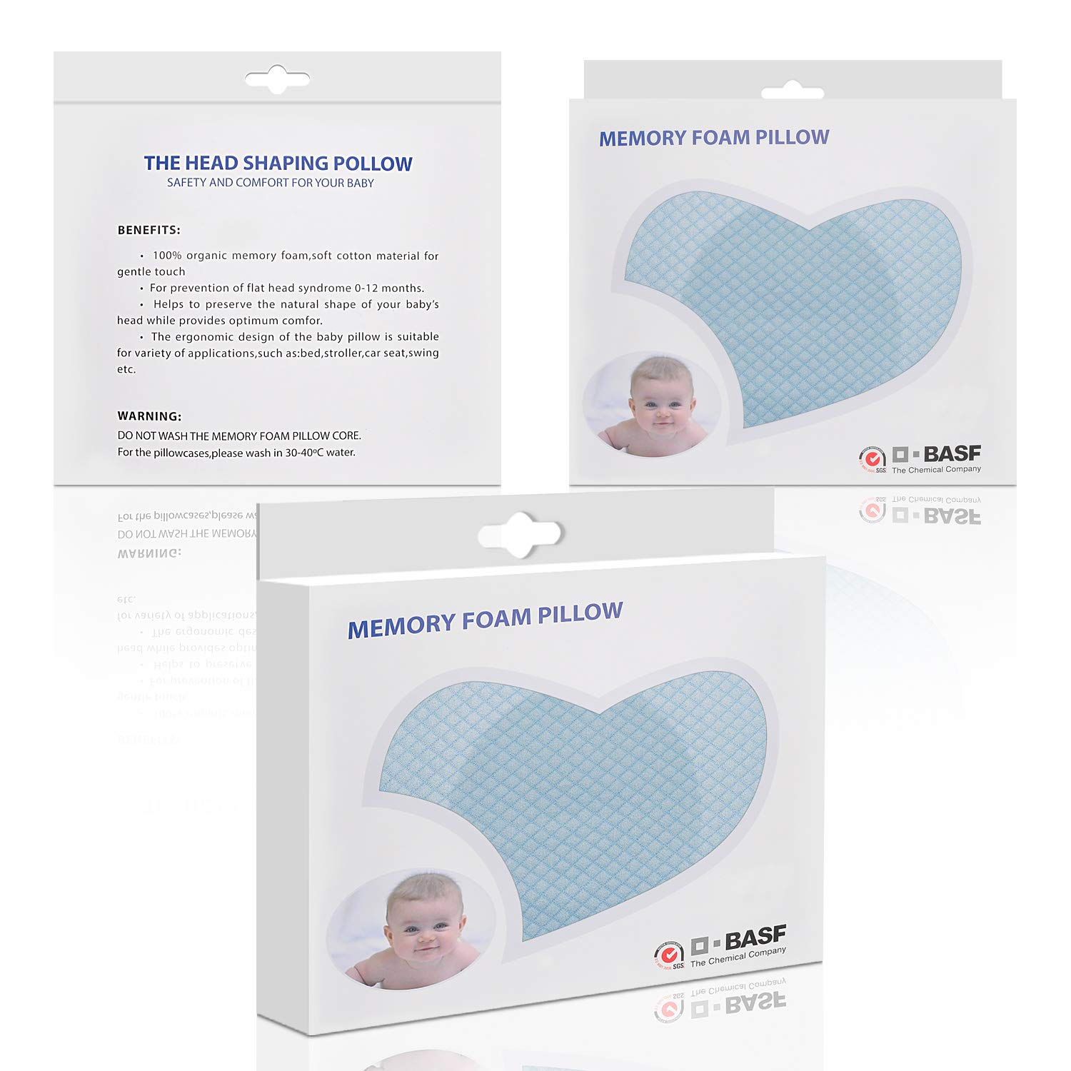 Best for Baby Shower//Registry Gift Elephant Heart Baby Head Shaping Pillow with 2 Color Removable Pillowcases Memory Foam Sleeping Cushion for Flat Head Syndrome Prevent Plagiocephaly for Newborn