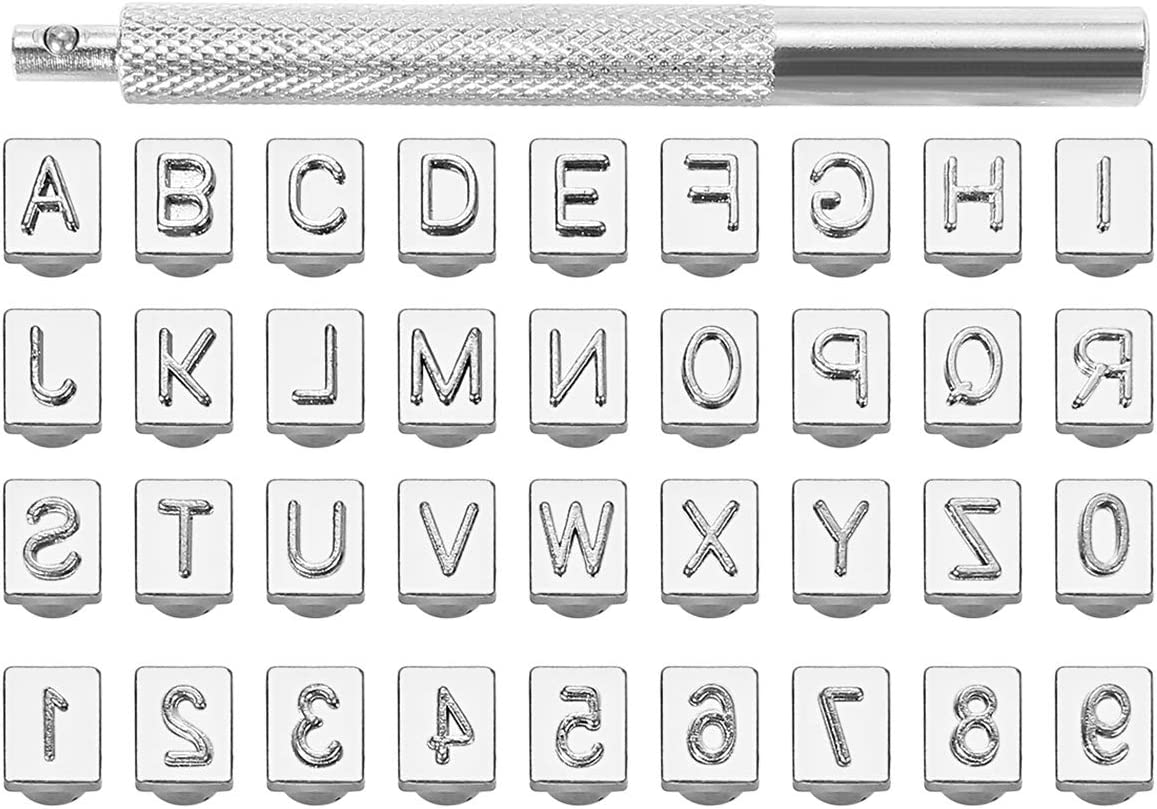 DGOL 36pcs 1//4 inch Leather Craft Alphabet Letters Numbers Stamping Punch Tool Kit