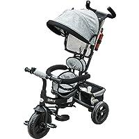 HOMCOM Triciclo para Bebé 4 en 1 Bicicleta para +18 Meses con Capota Manija de Empuje Ajustable Barra Extraíble…