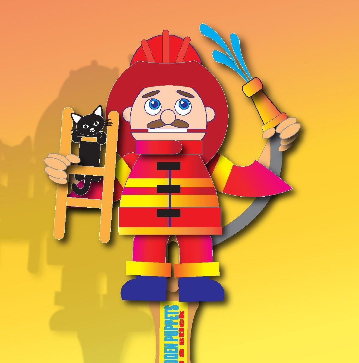 Wooden hand puppet - Fireman