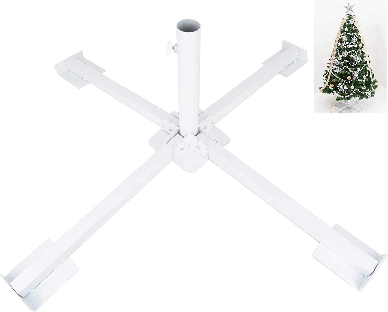 """ELFJOY White Christmas Tree Stand for Artificial Trees Heavy Duty Iron Metal Portable Foldable Tree Base 34"""""""