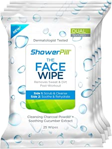 The Face Wipe by ShowerPill - Dual-Textured Cleansing Cloth with Charcoal and Cucumber Formulation - 100 Wipes