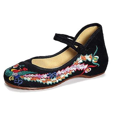 fa3d53b1035 Meta-U Women Embroidered Shoes- Wedge- Canvas- Phoenix