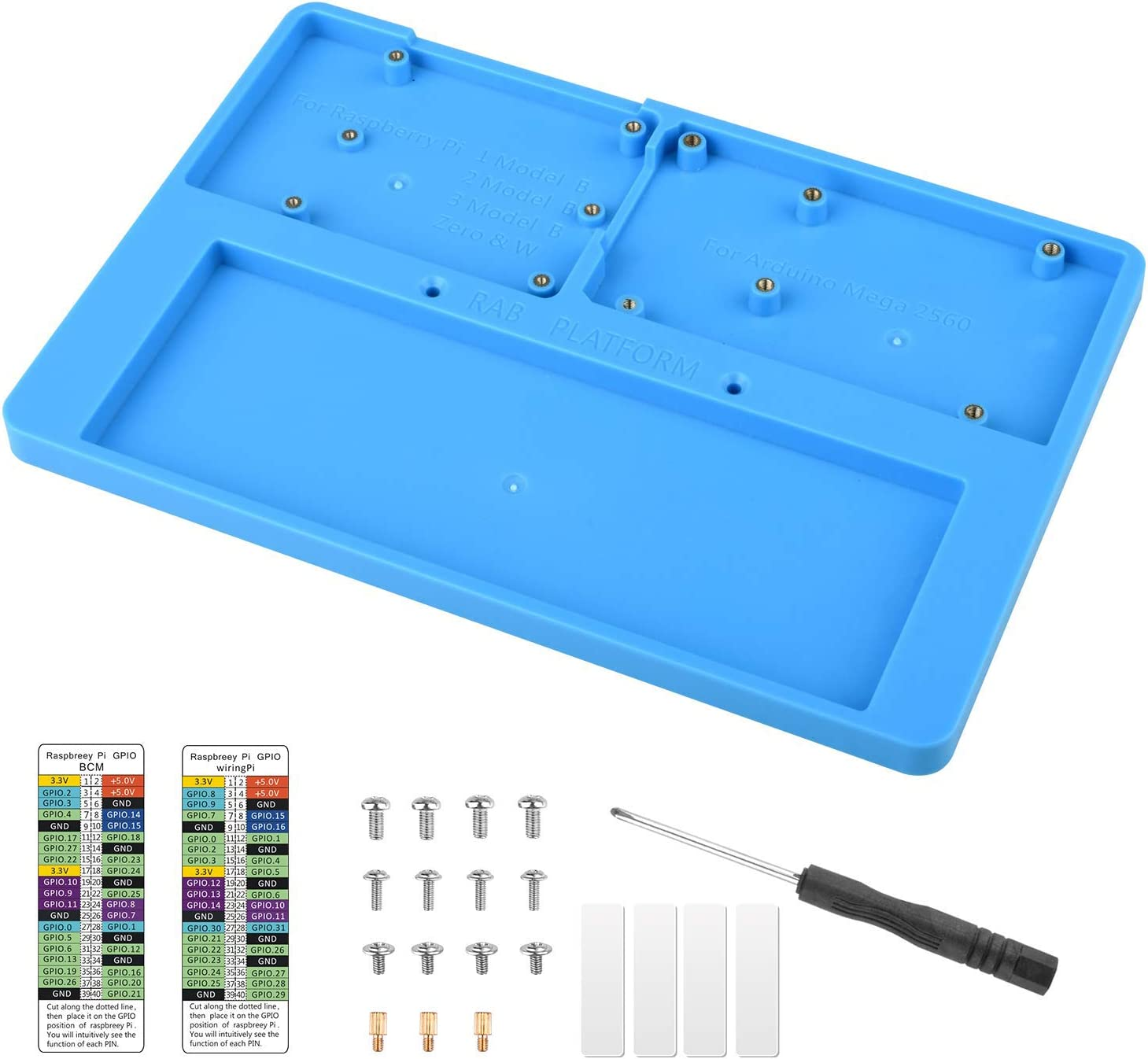 UNIROI 7 in 1 RAB Holder Raspberry Pi Breadboard, Base Plate Case with IDE 328P Control Cord for Mega 2560, Raspberry Pi 3 Model B, 2 Model B,1 Model B+ RPI 4B Zero and 400 Points Breadboard