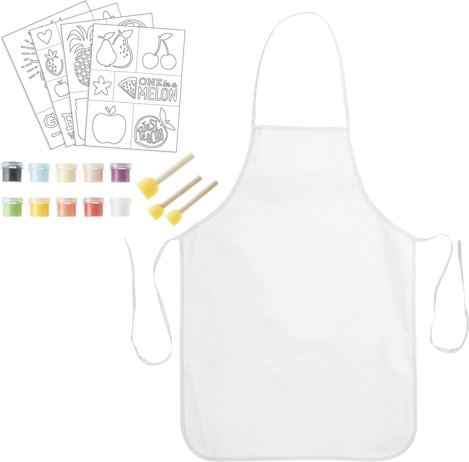 Darice Apron Decorating Kit - 100% White Cotton Aprons with Adhesive Garden-Themed Stencils, Paint and Daubers - Makes a Great Gift - 38-Piece Set