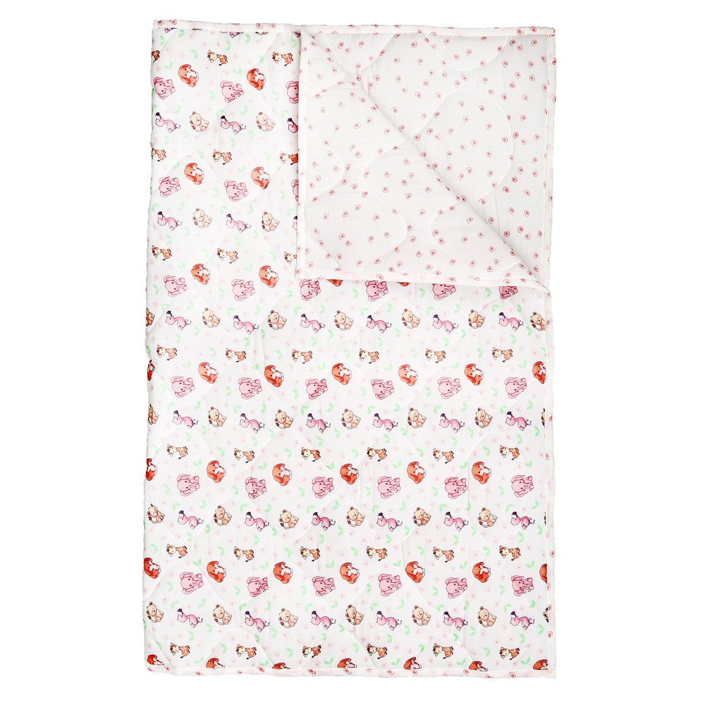 White and Pink Baby Quilt - Warm and Snuggly Toddler Blanket Animal Printed Crib Comforter for New Born Boys & Girls Bed Covers by RAJRANG (Image #4)