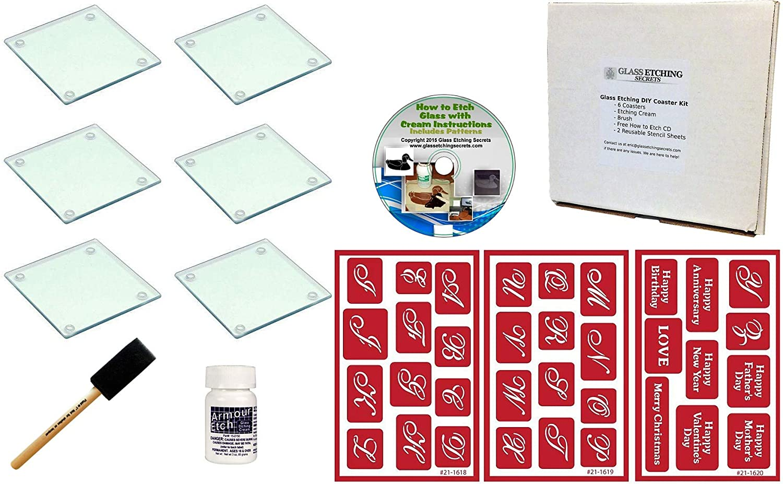 Amazon com: Glass Etching Monogram Coaster Kit: Make Your