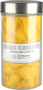 Home Basics Large 54 oz. Round Glass Canister Jar Container Fresh Sealed with Air-Tight Stainless-Steel Twist Top Lid for Kitchen Pantry Food Storage Organization, Clear