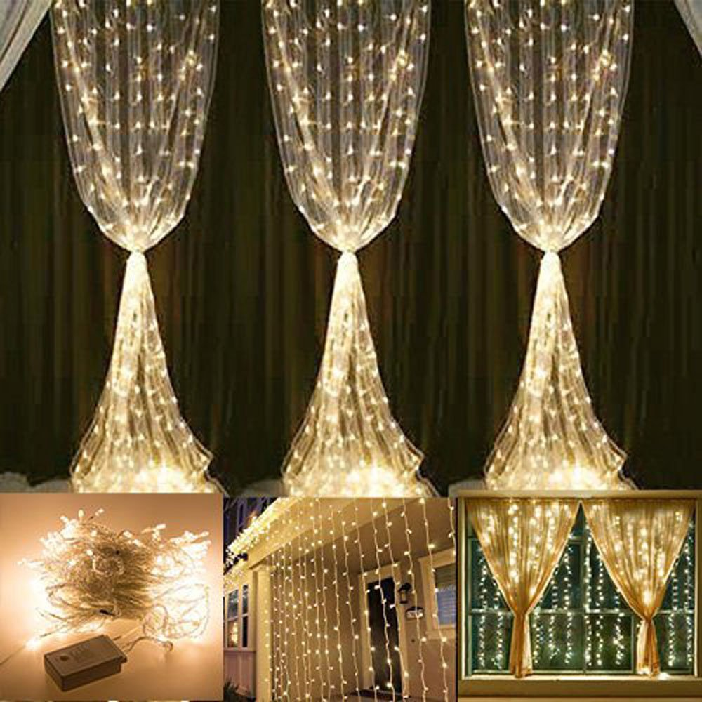 304 LED Curtain Lights KEEDA 98ft Waterproof Window Icicle Fairy String For Christmas