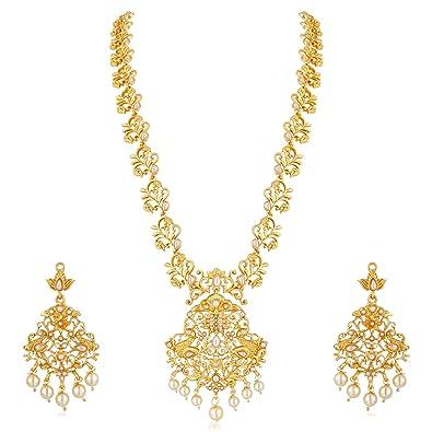 Buy Apara Traditional Floral Long Gold Plated Yellow Haram South