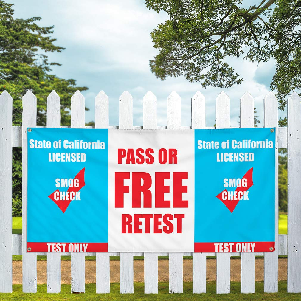Vinyl Banner Sign Pass Or Free Rates Licensed SMOGI Check Marketing Advertising Blue One Banner Multiple Sizes Available 8 Grommets 48inx96in