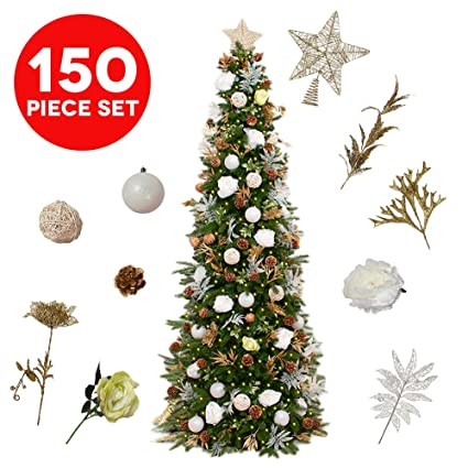 easy treezy assorted christmas ornaments set 150 piece seasonal holiday decor decoration sets for trees