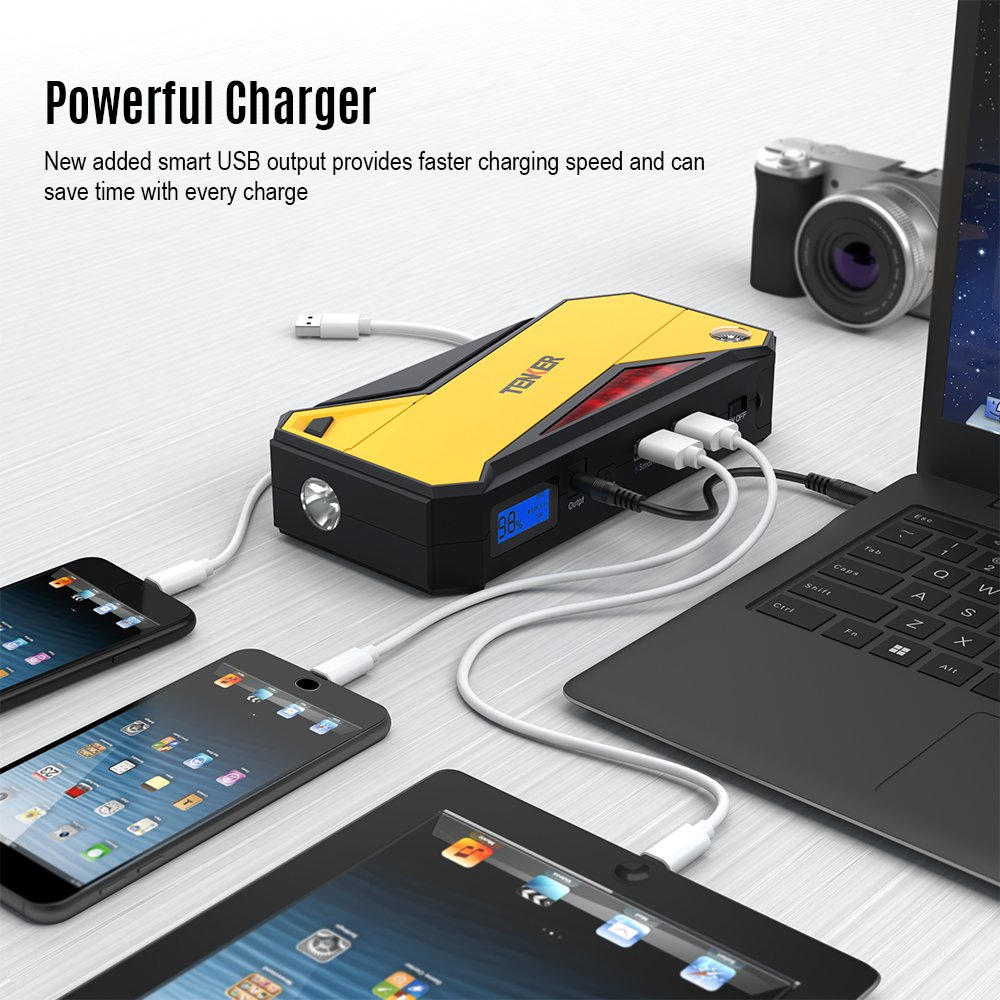 TENKER 600A Peak 18000mAh Portable Car Jump Starter (up to 6.5L Gas/ 5.2L Diesel Engine) Battery Booster Power Pack, Power Bank with Smart Charging Port, LED Flashlight, LCD Screen & Compass by TENKER (Image #3)
