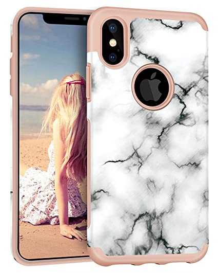 online store d9580 bb815 iPhone X Case, Imikoko™ Protective Hybrid Soft Silicone with Hard White  Marble Case Shock Absorbing Slim Thin Cute Case Cover Plastic Shell for ...