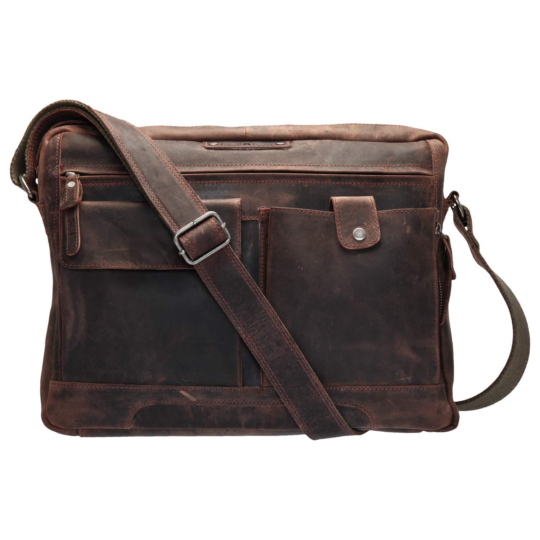 Grünburry Vintage Revival Umhängetasche Leder 39 cm Laptopfach B00D41EJDQ Messenger-Bags