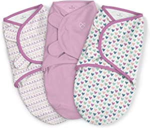 SwaddleMe Original Swaddle, Small (0-3 Months, 7-14 lbs) Girls Hearts and Hoops 3pk
