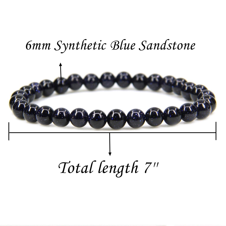 Gem Semi Precious Gemstone 6mm Round Beads Stretch Bracelet 7 Unisex