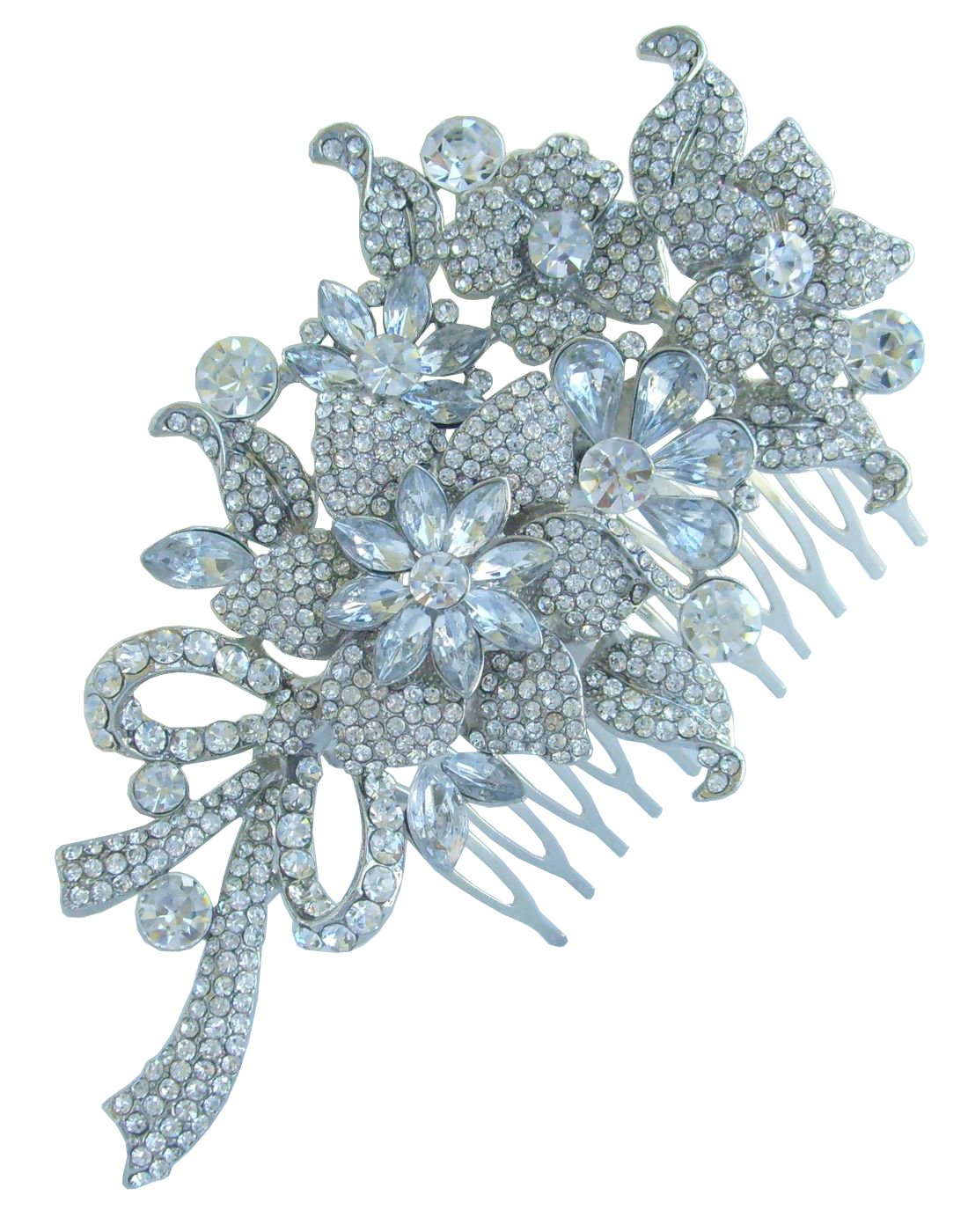 Sindary Silver Tone 4.53'' Flower Wedding Hair Comb Clear Rhinestone Crystal Bridesmaid Jewelry HZ4716