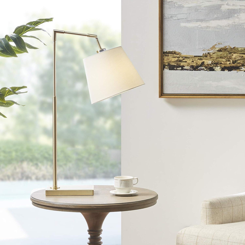 Martha Stewart Kenley Table Lamp Living Room Decor Angular Metal Base Adjustable Tapered Drum Shade Modern Home Office Desk Lighting Nightstand Reading Light For Bedroom 14 X 10 X 28 25