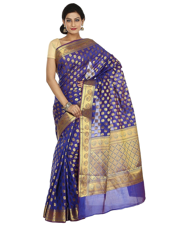 Indian Ethnic Art Banarasi Silk Blue Banarasi saree