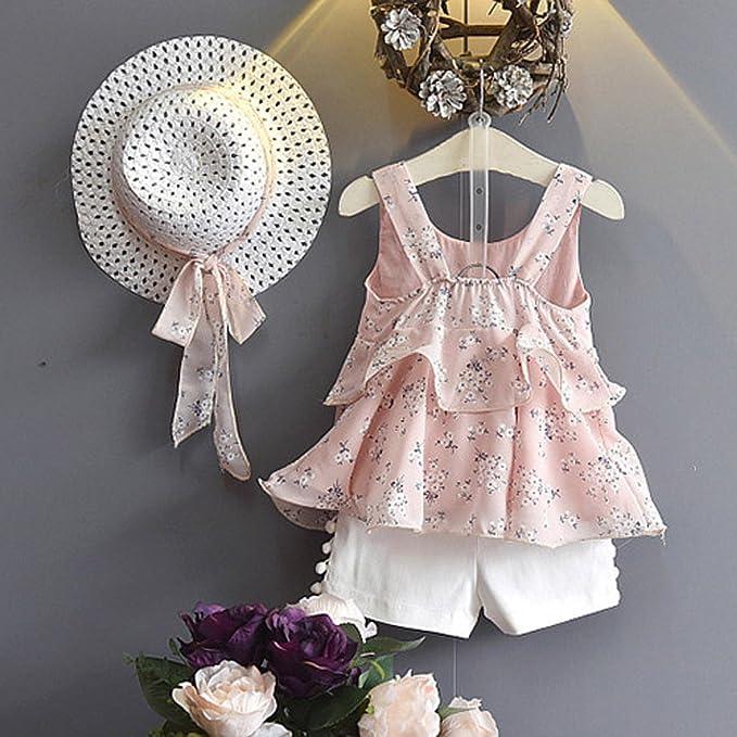 Tassle Pantaloncini Jimmackey 3pcs Neonata Bambine Abiti Floreali Chiffon Gilet T-Shirt Cime Cappello Set