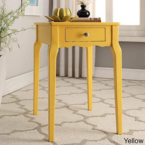 Inspire Q Daniella 1-Drawer Wood Storage Side Table by Bold Yellow Painted