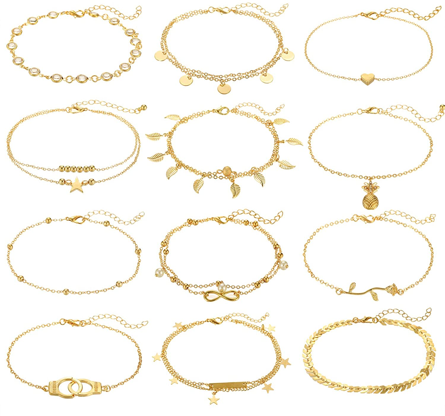 FUNEIA 12Pcs Anklets for Women Silver Gold Ankle Bracelets Set Boho Layered Beach Adjustable Chain Anklet Foot Jewelry